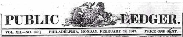 1842-02-28 Philly Ledger header